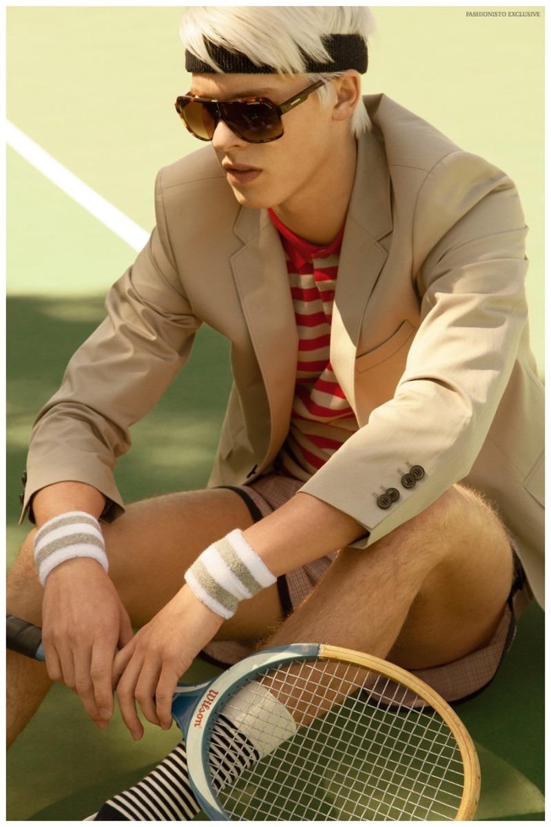 August wears headband American Apparel, blazer Paul Smith from Bloomingdales SF, polo shirt Burberry from Bloomingdales SF, wristbands American Apparel, vintage shorts from Wastelands SF, socks Happy socks and sunglasses Carrera from Bloomingdales SF.