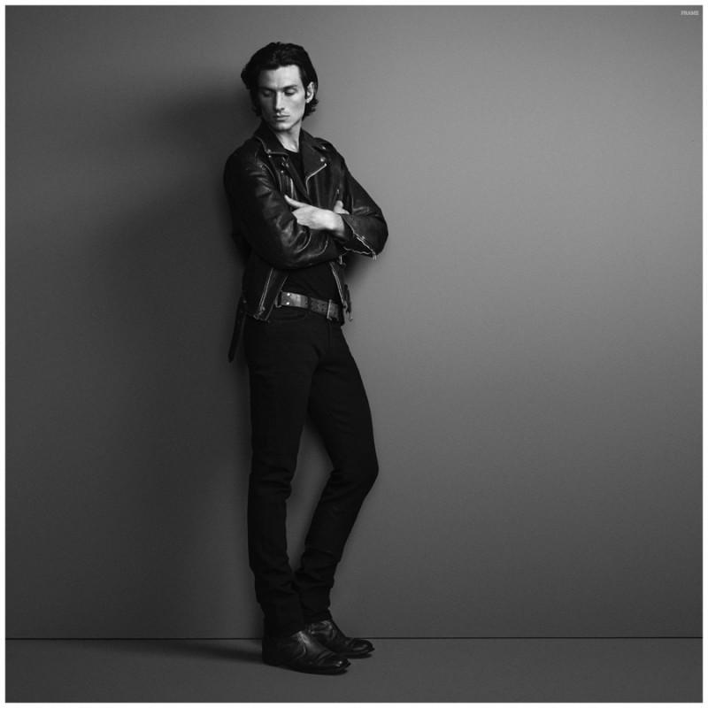 Back to Black: Matt Clunan rocks a head to toe black denim and leather look.