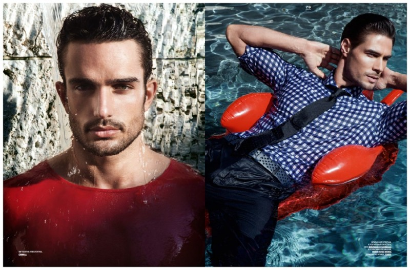 Andre Costa (left) poses in a red Canali top while Sahib (right) goes for a swim.