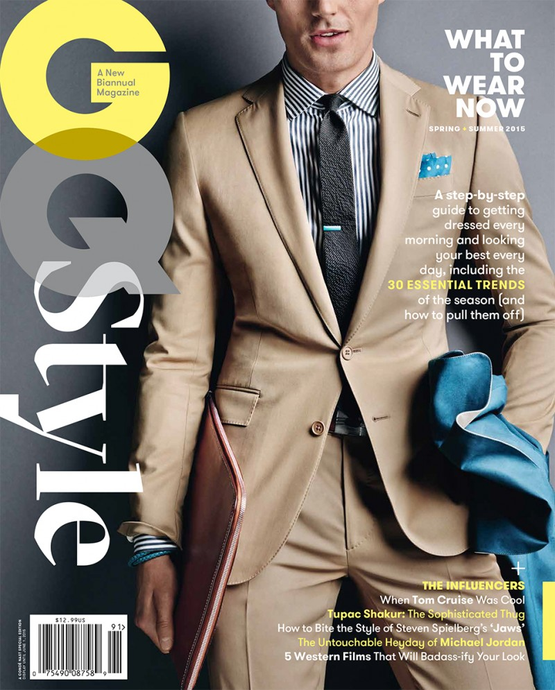 Model Peter Badenhop suits up for the spring-summer 2015 cover of GQ Style.