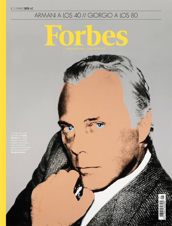 Celebrating the 40 year anniversary of Giorgio Armani, Forbes Spain delivers a flattering illustration of the Italian designer for its March 2015 cover.