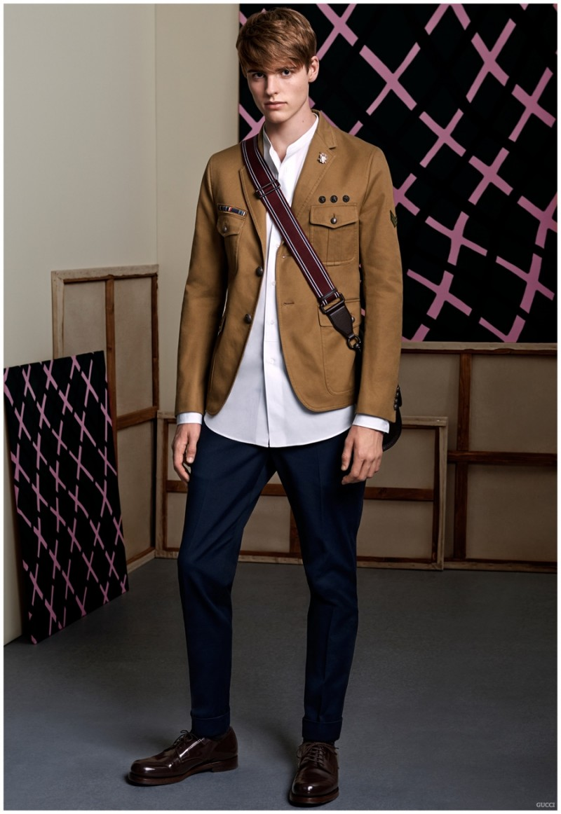 Gucci embraces a chic tailored military aesthetic.