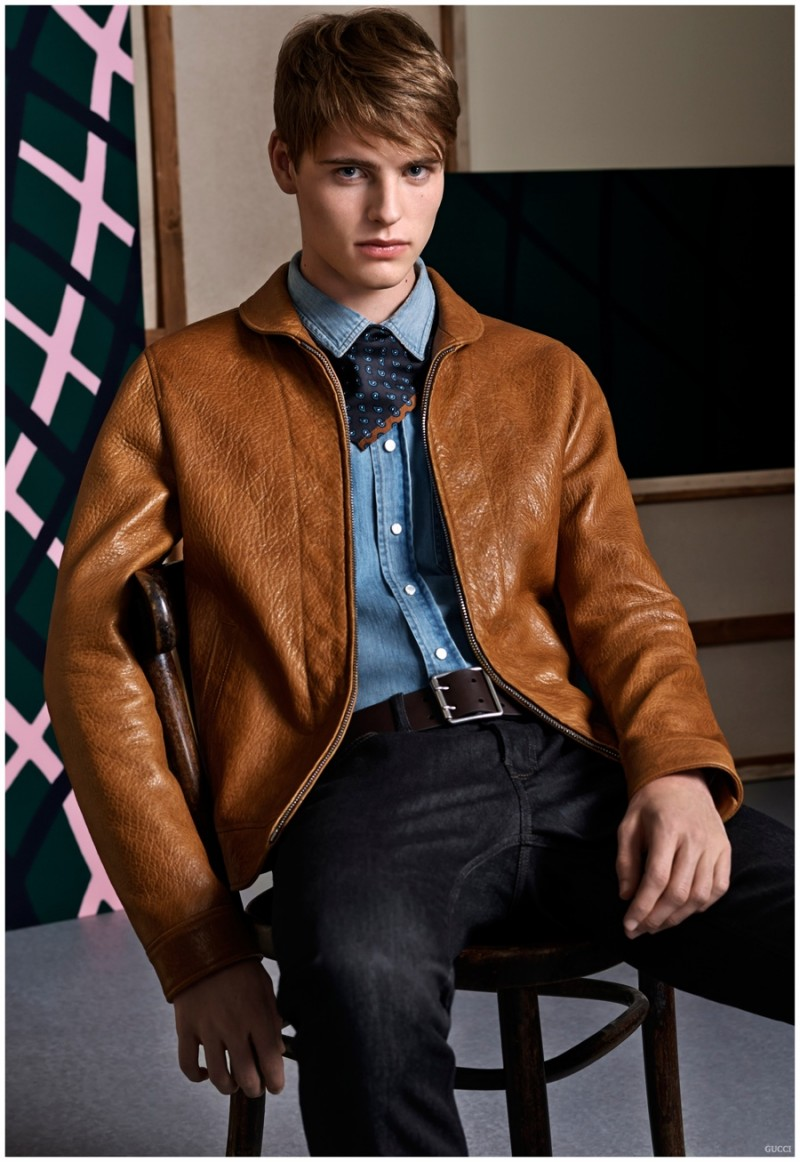 Gucci pays a luxe nod to the western motif with denim and rich, brown leather.