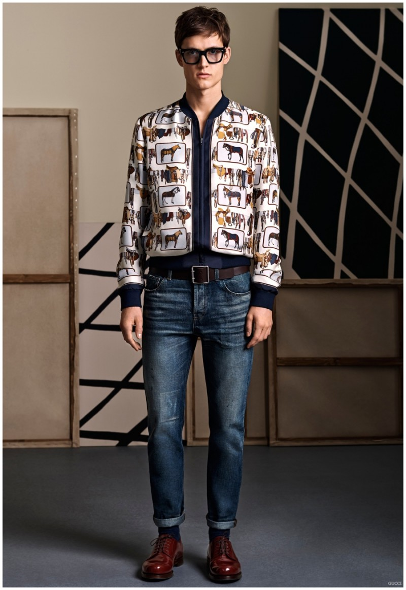 The popular bomber jacket style is revisited with an impeccable fit for smart fashion accolades.