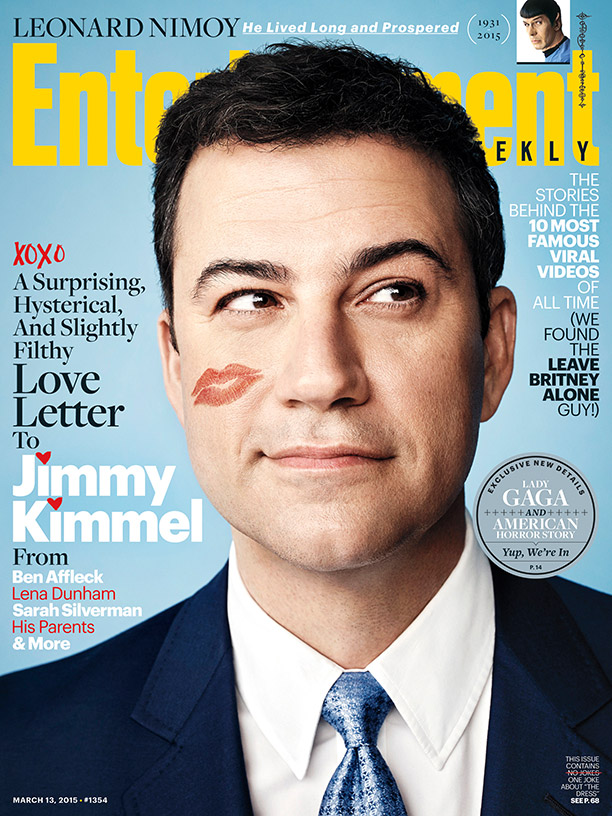 Jimmy Kimmel sports a lipstick kiss for the latest cover from Entertainment Weekly.