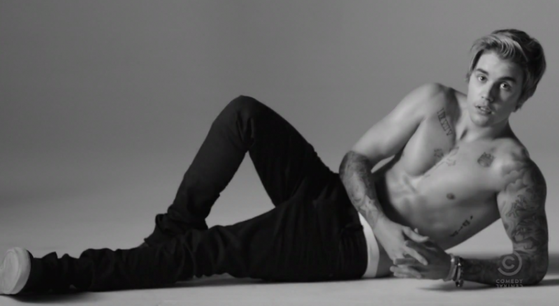 Justin Bieber spoofs his Calvin Klein advertisements for a new Comedy Central spot promoting his upcoming roast.