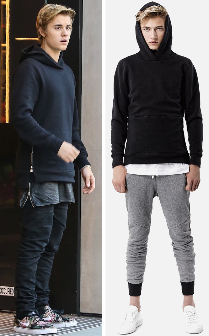 Justin Bieber Spotted In John Elliott Co Black Hooded Sweatshirt
