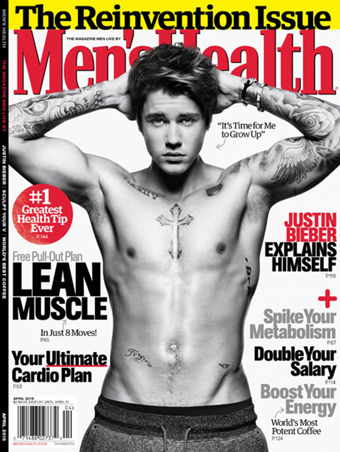 Justin Bieber poses shirtless for the April 2015 cover of Men's Health.