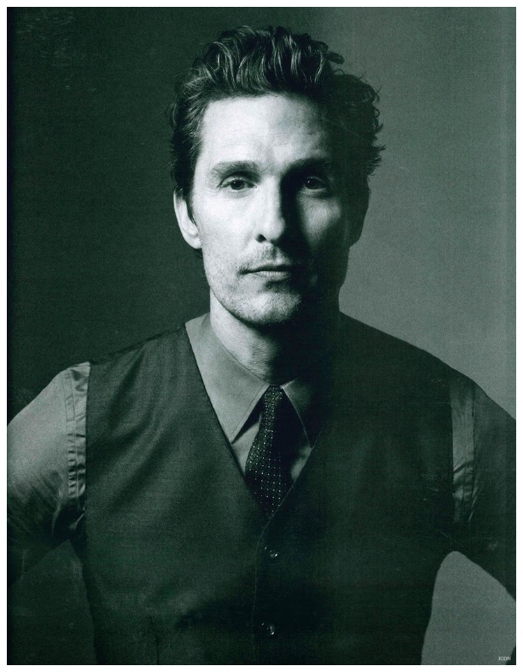 Matthew McConaughey goes sans jacket in a waistcoat with shirt and tie.