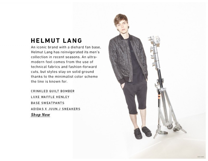 John Hein gets in tune with his dark sporty side in Helmut Lang.