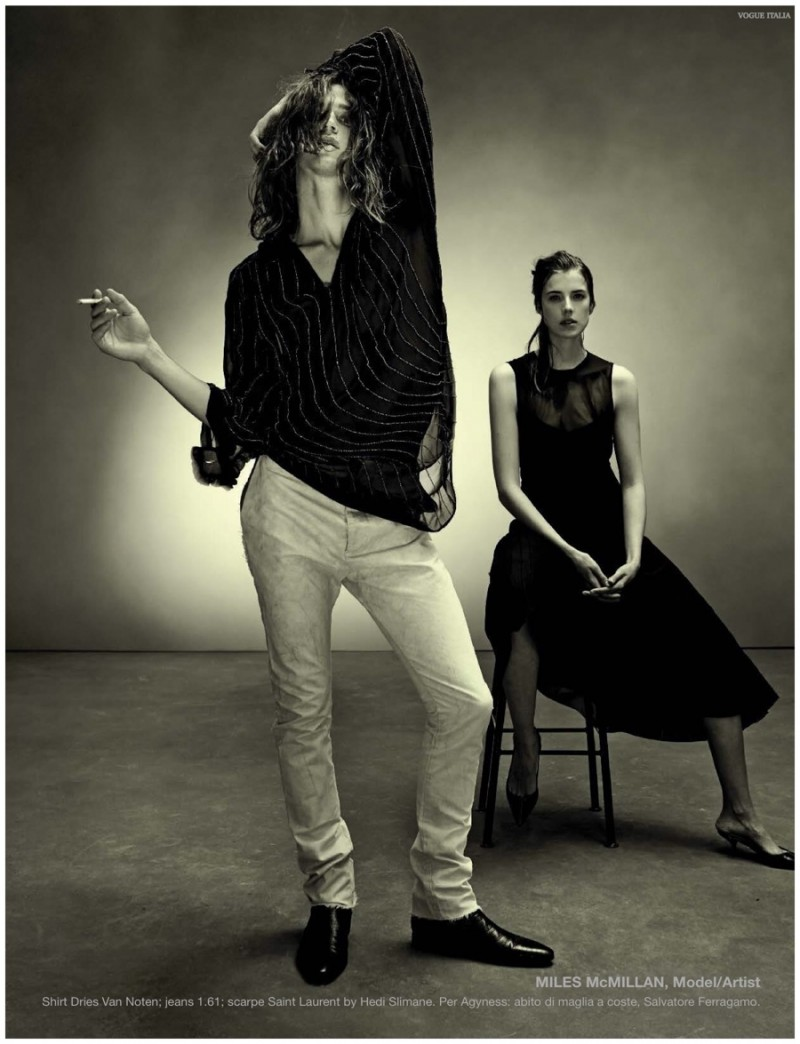 Miles McMillan is very rock 'n' roll in a shirt from Dries Van Noten.