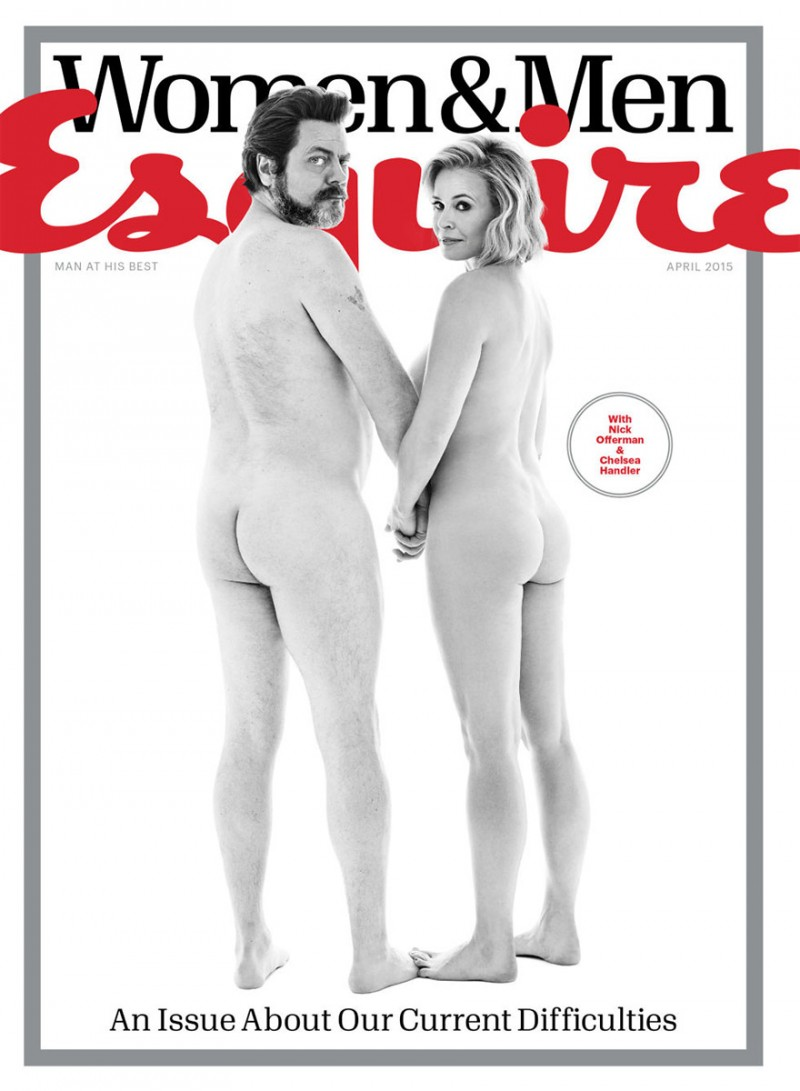 Actor Nick Offerman joins television personality Chelsea Handler for the April 2015 issue of Esquire, photographed by Robert Trachtenberg.