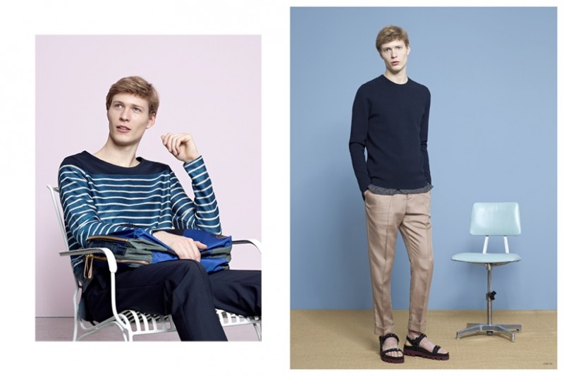 Left: PAUL SMITH Striped Panel Top MARNI x PORTER Tanker Briefcase VALENTINO Bonded Pyjama Trousers Right:  ACNE STUDIOS Lang Knitted Sweater PAUL SMITH Leaf Print Overshirt VALENTINO Silk Pyjama Trousers VALENTINO Studded Sandals