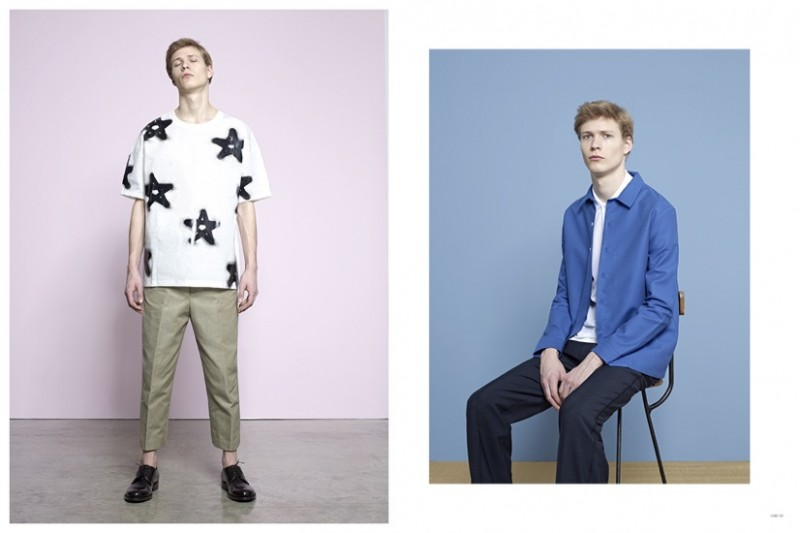 Left:  ACNE STUDIOS Ewan T-Shirt ACNE STUDIOS Zooty Cotton Trousers RAF SIMONS Leather Lace-Up Shoes Right: AMI Cotton Blend Overshirt SUNSPEL Jersey Polo Shirt MARC JACOBS Pleated Trousers