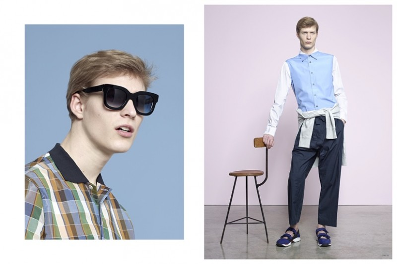 Left: ACNE STUDIOS Checked Olaf Shirt THIERRY LASRY Dominaty Sunglasses Right: MARNI Colour-Blocked Cotton Shirt MARNI Oversized Cotton Trousers MARNI Neoprene Sneakers ACNE STUDIOS College Sweatshirt