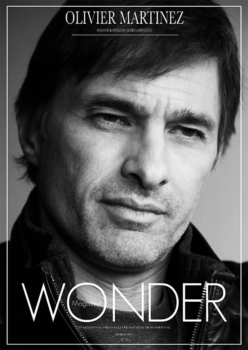 Olivier Martinez poses for a black & white cover image from Wonder magazine. Photo by Maria Hipolito.
