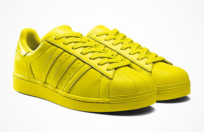 Confinar Asombrosamente Infectar  Pharrell is Happy in Adidas Originals Superstar Yellow Sneakers | The  Fashionisto
