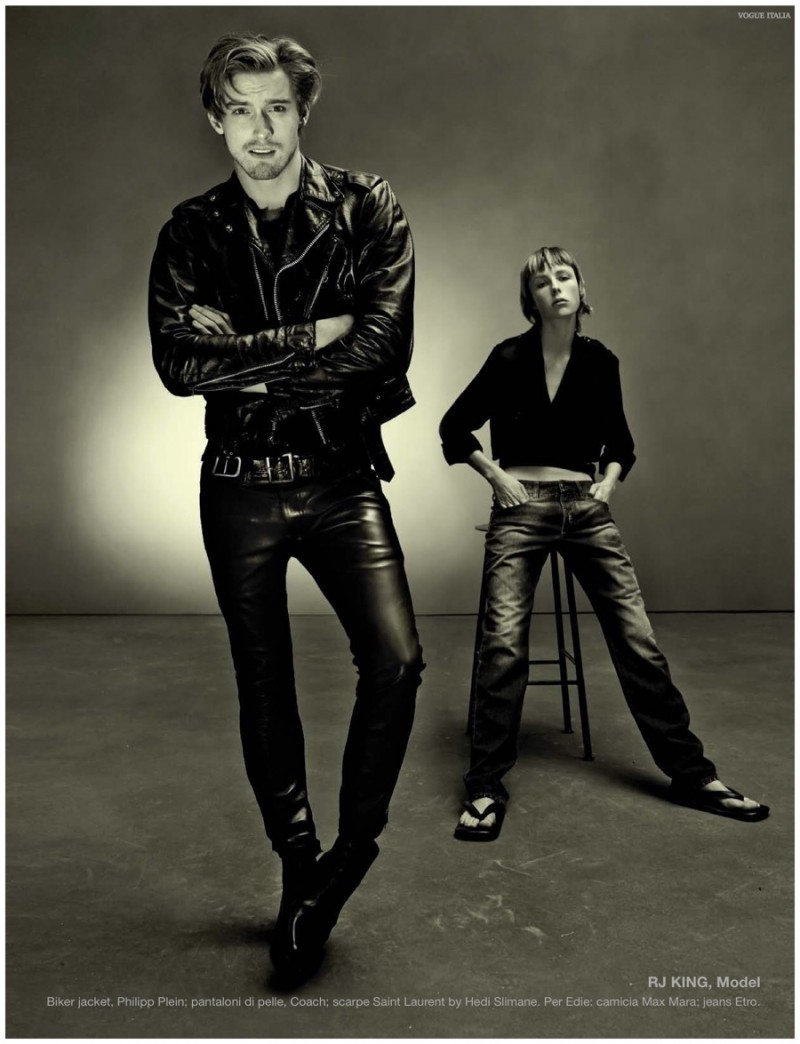 Reuniting with Steven Meisel, RJ King is a leather boy.