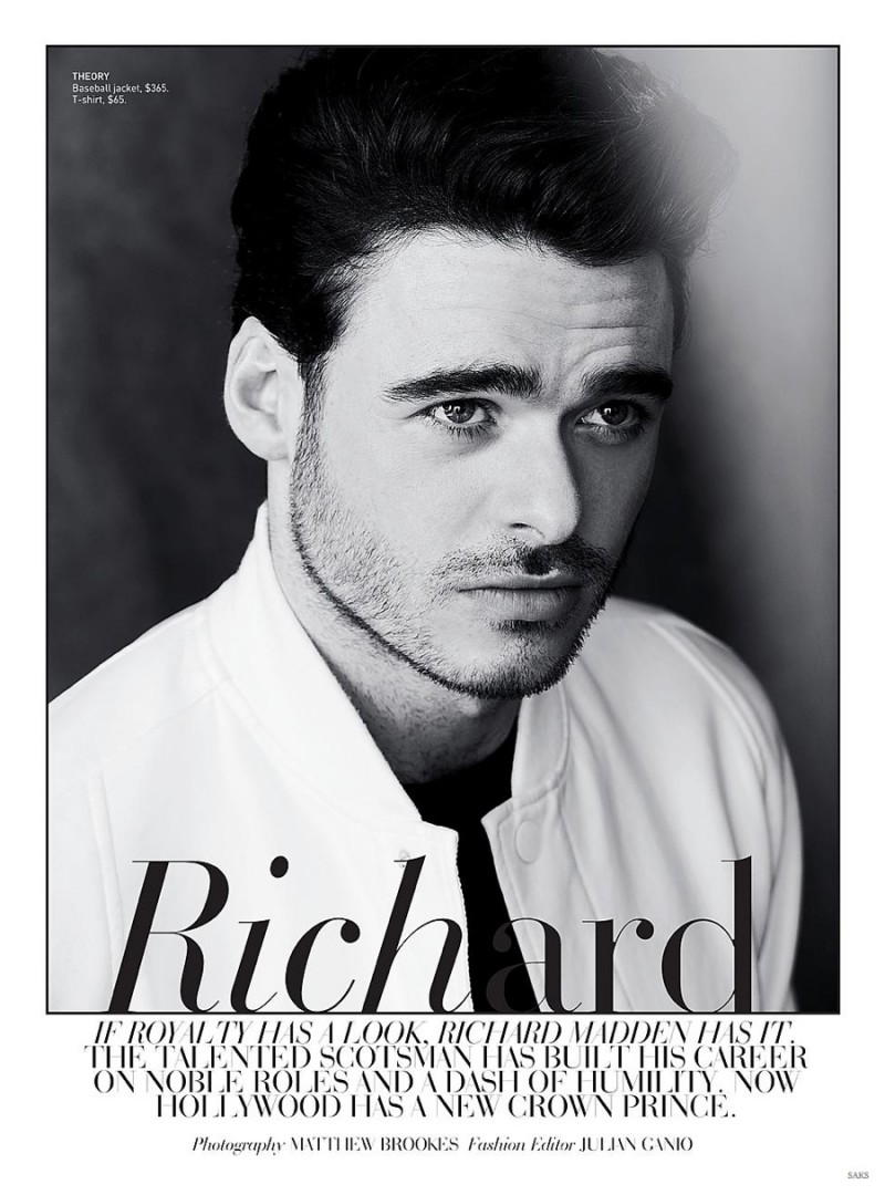 Richard Madden Wears White For Saks 2015 Photo Shoot