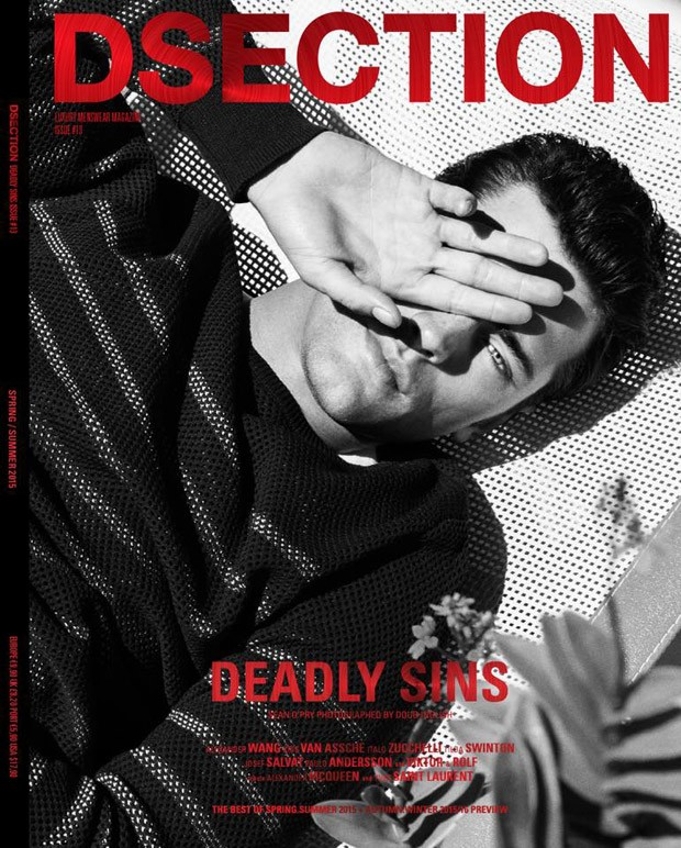 """Wearing Dior Homme, Sean O'Pry covers DSection's """"Deadly Sins"""" issue with a photo shot by Doug Inglish. Styling by Nicolas Klam."""