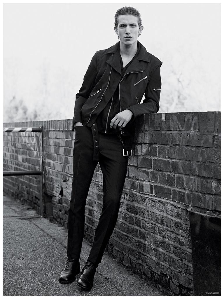 Xavier Buestel is moto-cool in a biker jacket from Loewe.