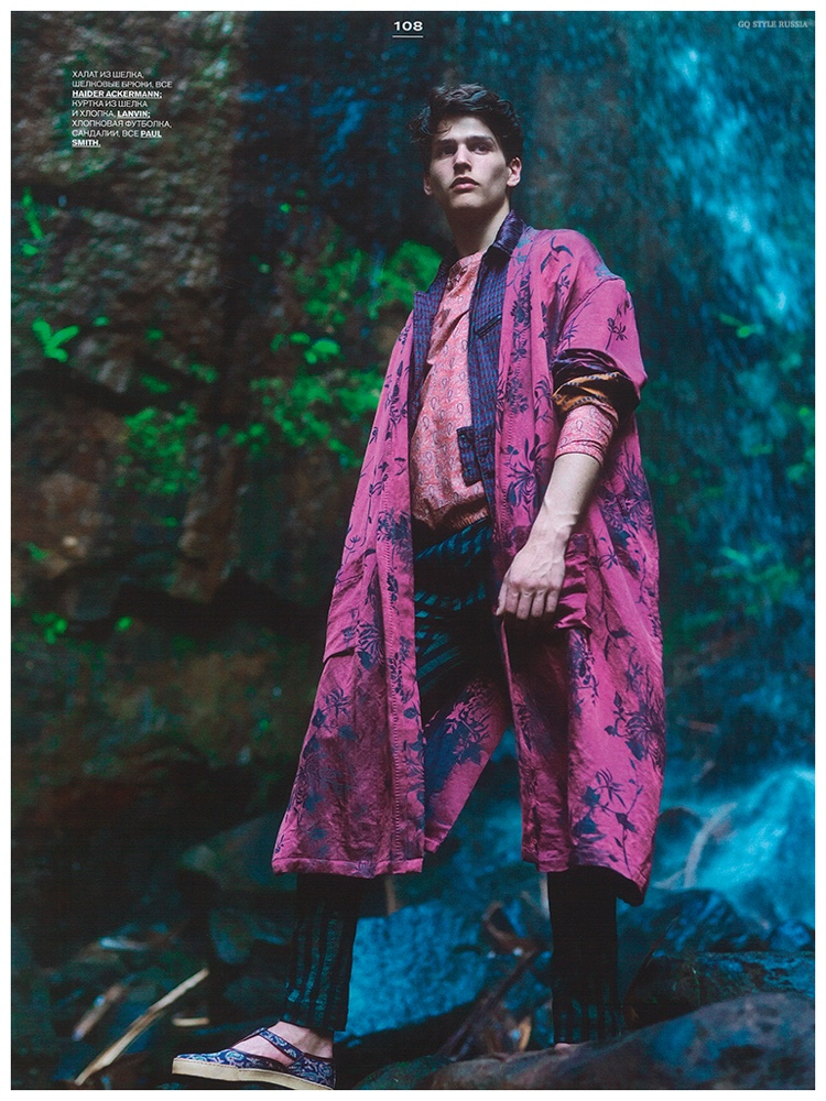 Prints and vivid colors are mixed as Simon Van Meervenne dons an oversized robe-cut coat from Haider Ackermann.
