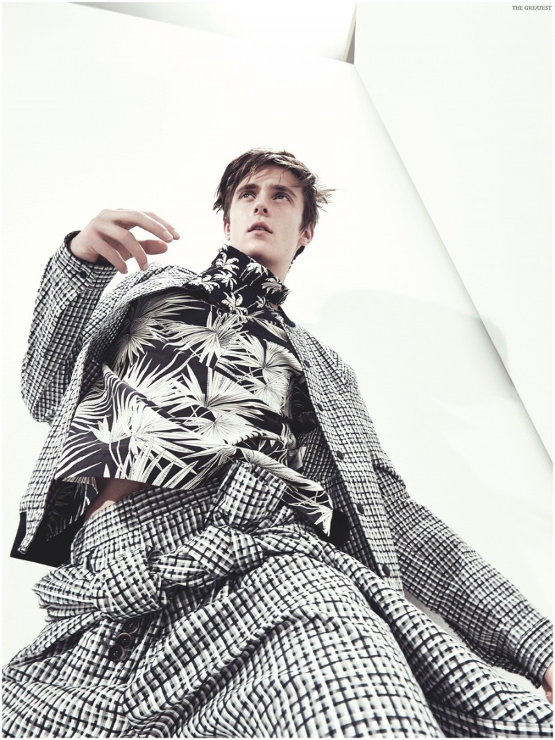 Wearing a fun mix of prints, Gustaaf Wassink models an ensemble from MSGM.