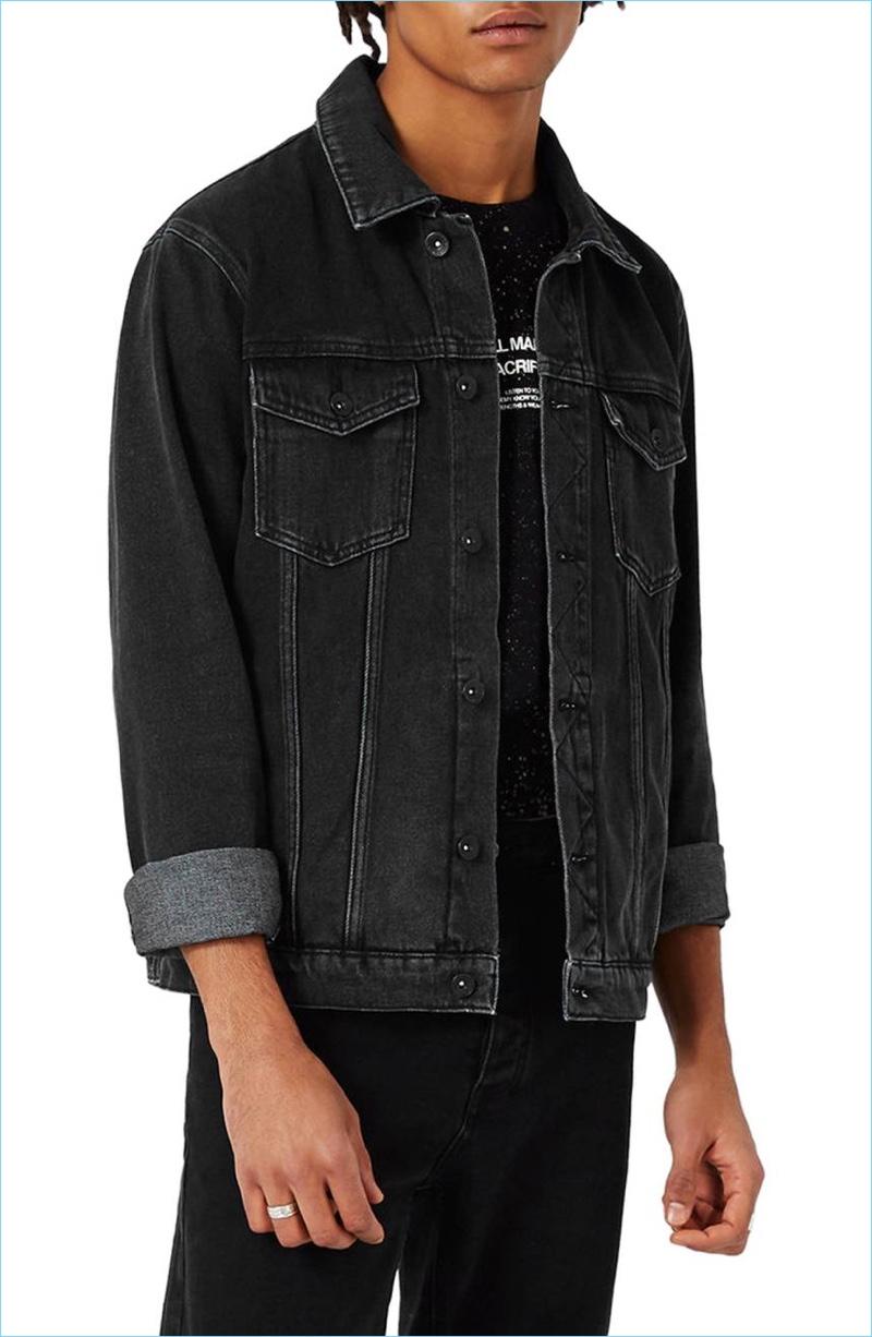 western denim jacket - men Topman Black Western Denim Jacket