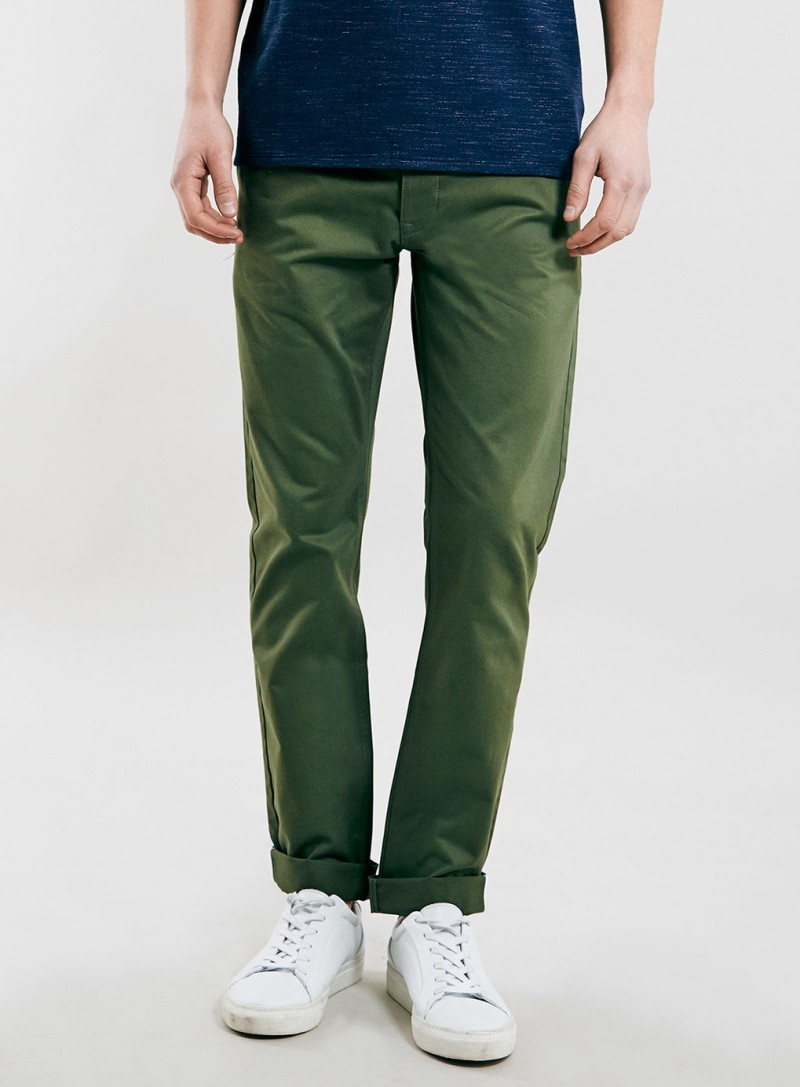 Go green with chinos from British fashion brand Topman.