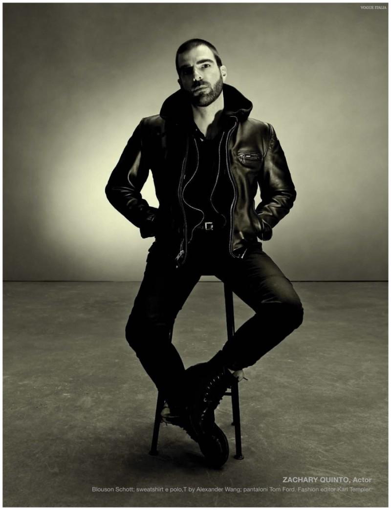 Zachary Quinto rocks a Schott leather jacket.
