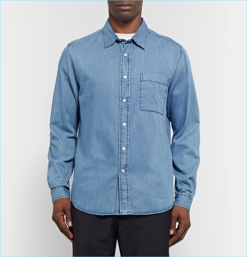 AMI Classic Slim-Fit Denim Shirt