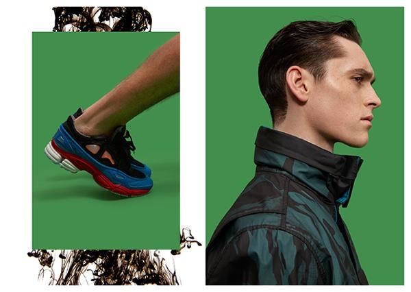 Left: Anders wears sneakers Raf Simons. Right: Anders wears jacket Stone Island.