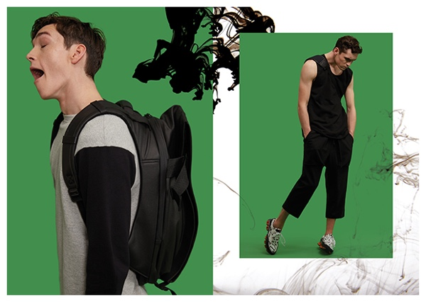 Left: Anders wears sweatshirt Marni. Right: anders wears sleeveless top Stone Island, cropped trousers Public School and sneakers Raf Simons.