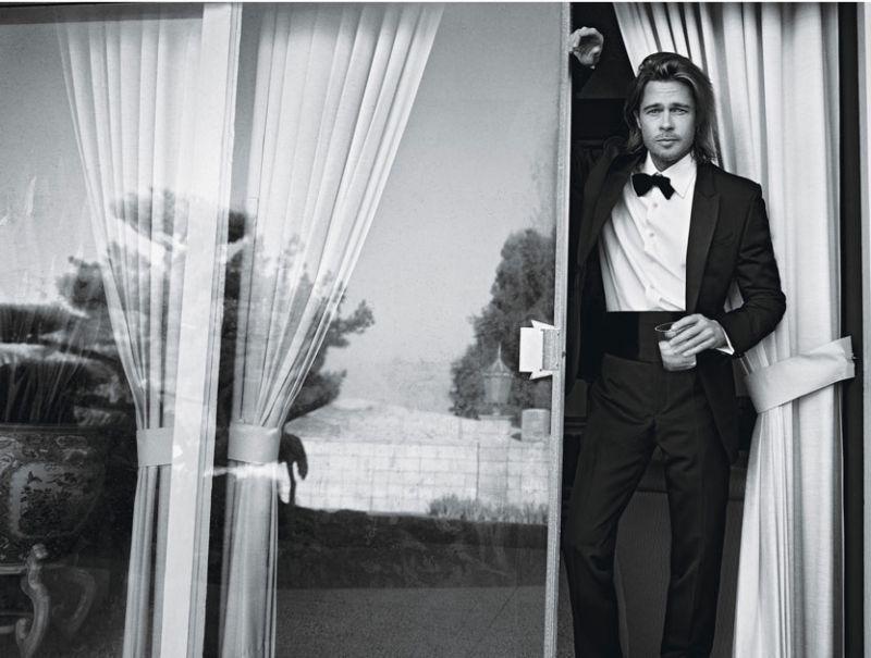 Brad Pitt delivers a dapper moment in a tuxedo.