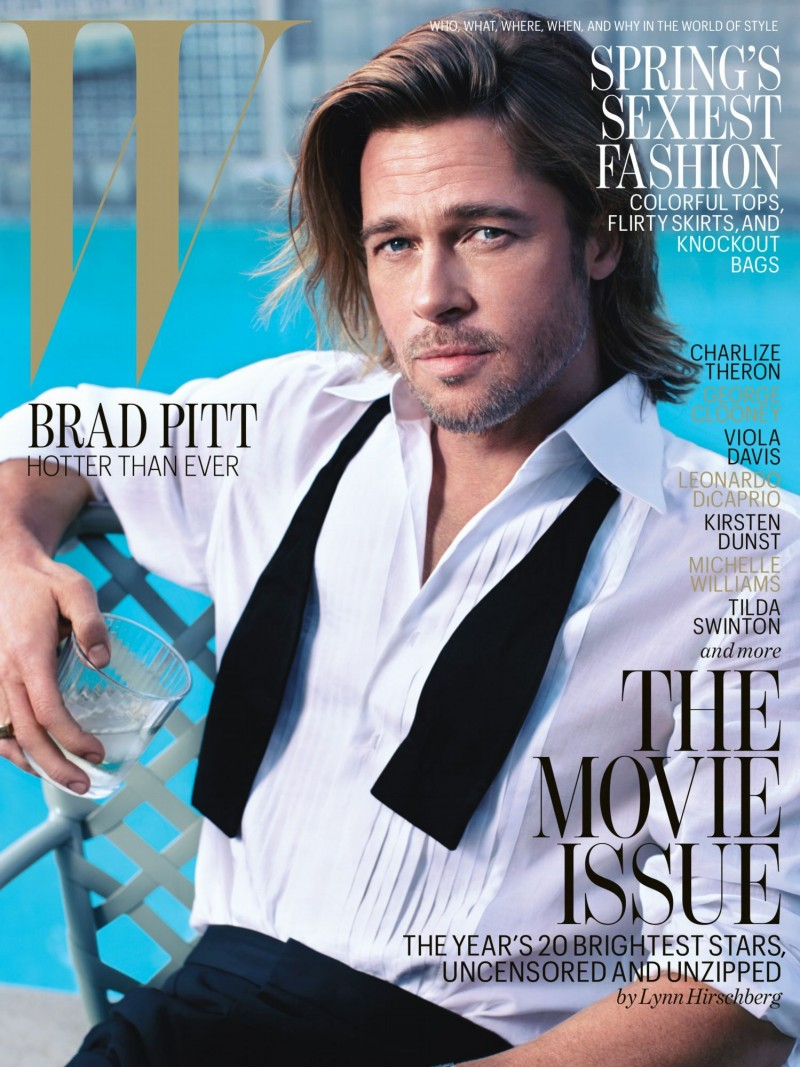 Brad Pitt photographed poolside for the February 2015 issue of W magazine.