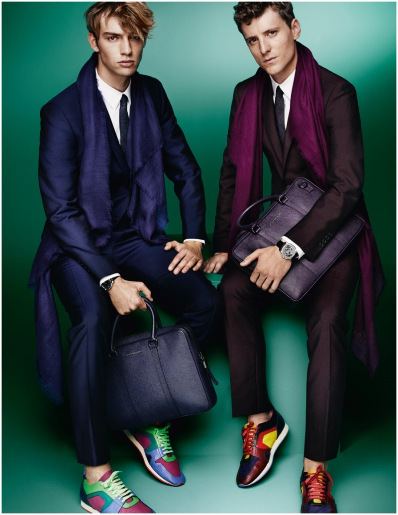 George Barnett and George Le Page don suits and sneakers for Burberry's spring-summer 2015 Tailoring campaign.