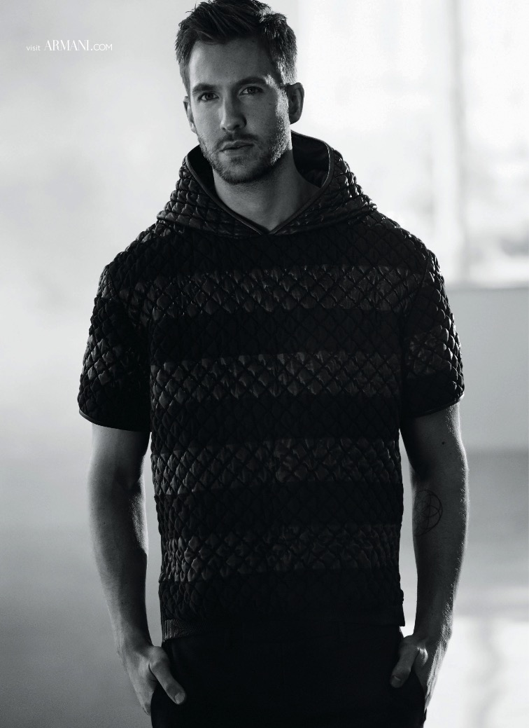 Calvin Harris sports a short-sleeve quilted hoodie in a new image from his Emporio Armani spring-summer 2015 campaign, lensed by photographer Boo George.