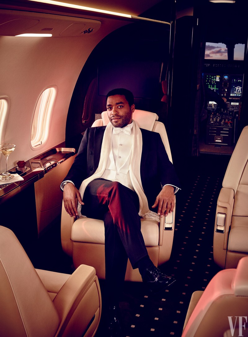 Photographed for Vanity Fair, Chiwetel Ejiofor enjoys the luxe life in a private jet.