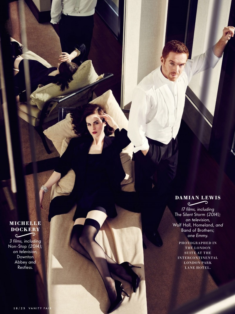 Michelle Dockery and Damian Lewis retreat indoors for this Vanity Fair photo.