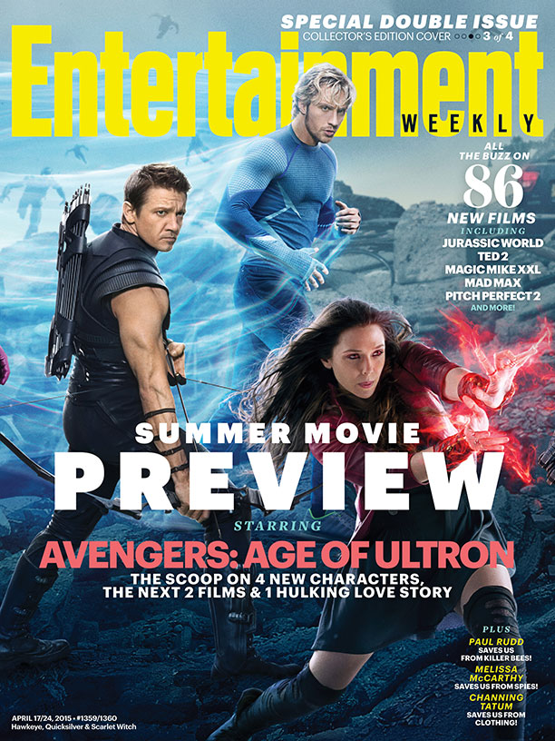 Hawkeye, Quicksilver and the Scarlet Witch cover Entertainment Weekly.