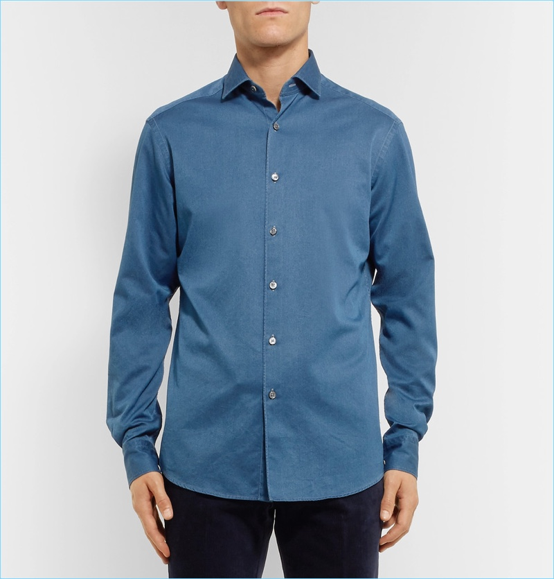 Ermenegildo Zegna Slim-Fit Cutaway-Collar Denim Shirt