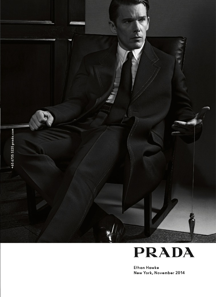 Ethan Hawke photographed by Craig McDean for Prada's spring 2015 campaign.
