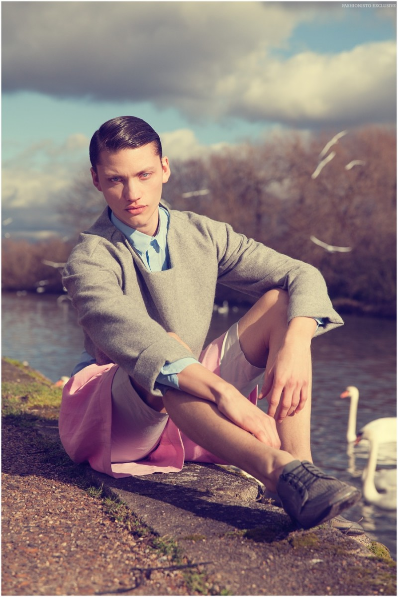 Mathis wears cropped jumper, shirt and shorts Kristian Steinberg with vintage shoes Berluti.