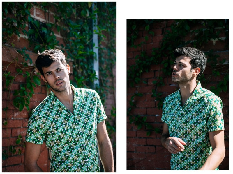 Felix Bujo is a lively spring vision in a colorful print short-sleeve shirt.