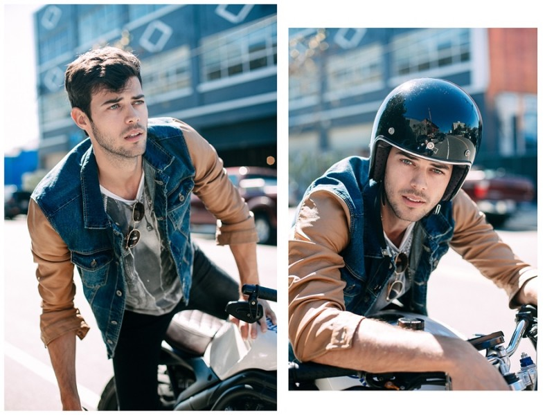 Felix Bujo is ready to hit the road in a denim shirt jacket.