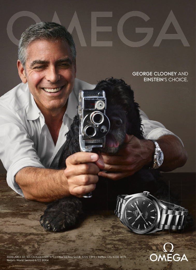 George Clooney is all smiles for Omega's charming timepiece campaign advertisement.