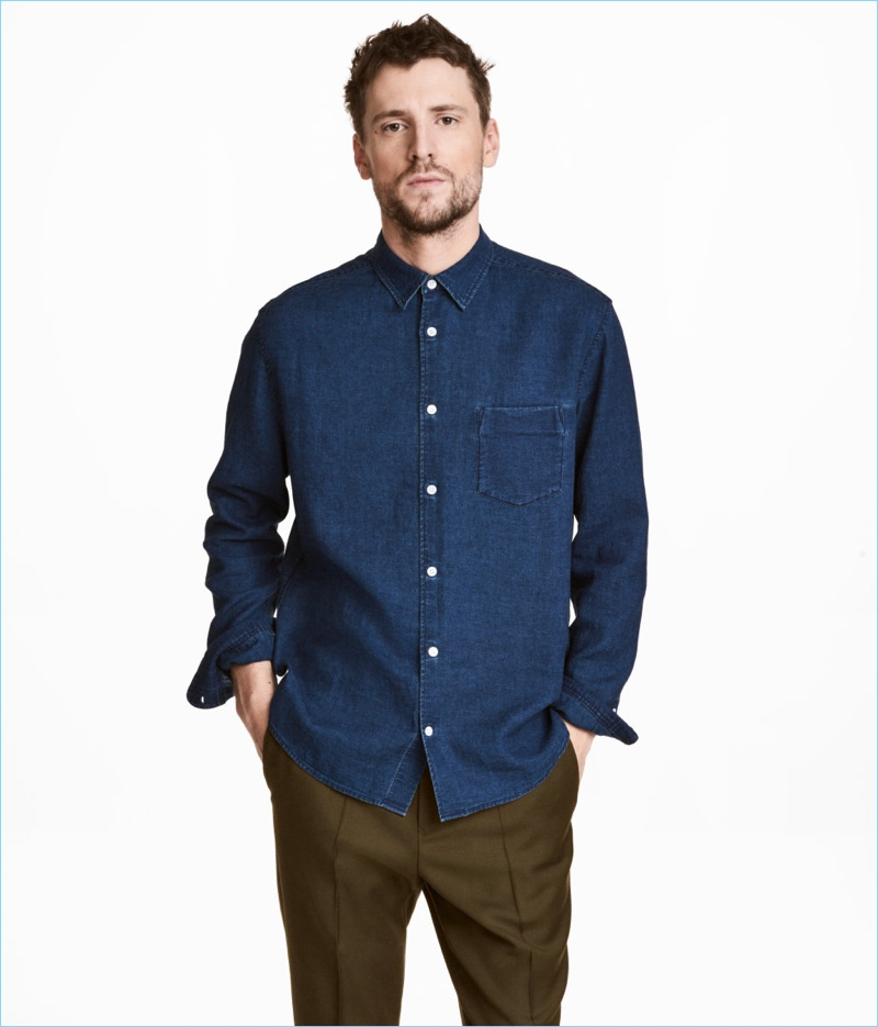 H&M Linen-Blend Denim Shirt