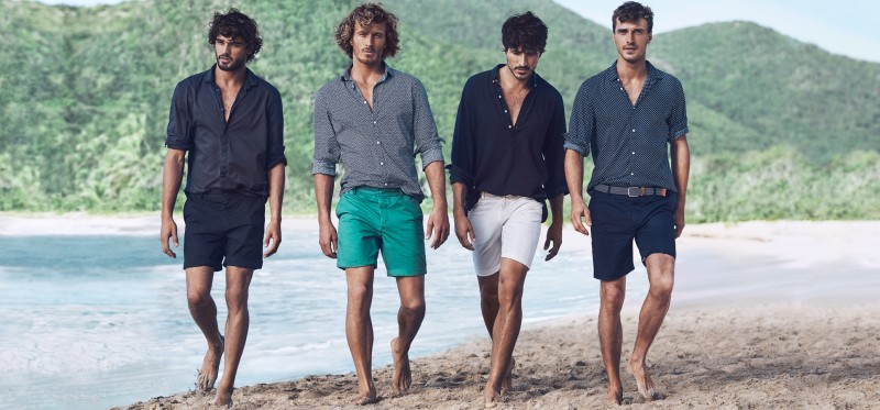 Marlon, Clay, Andres and Clément are ready for a beach get together in  smart shirts and shorts.