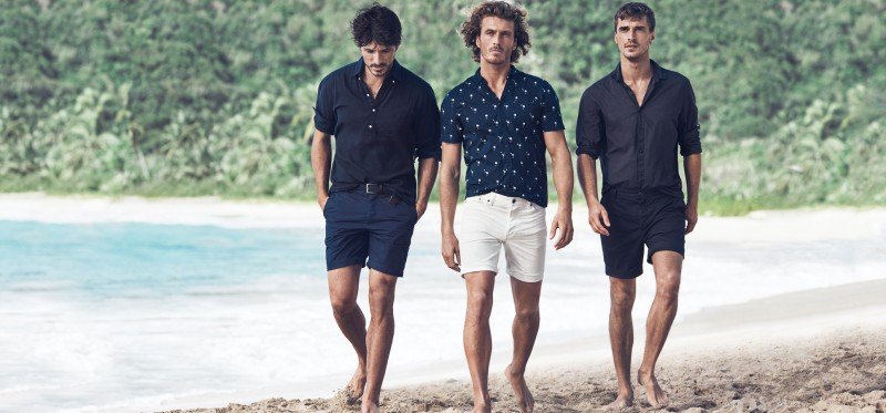 Andres, Clay and Clément showcase H&M's short-sleeve shirts and cotton shorts.