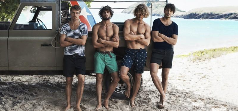 Clément Chabernaud, Marlon Teixeira, Clay Pollioni and Andres Velencoso Segura poses for a casual image on the beach.